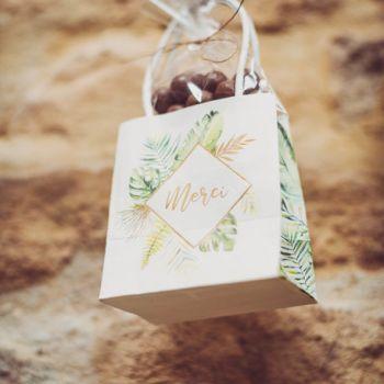 6 mini sacs cadeaux merci dorure tropical