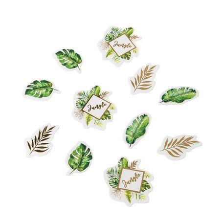 100 confettis en carton tropical avec dorure idéal pour une décoration de table tendance sur le thème de la jungleDimensions: 2 x...