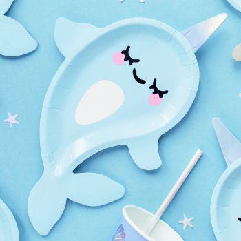 6 assiettes baleine licorne irisée