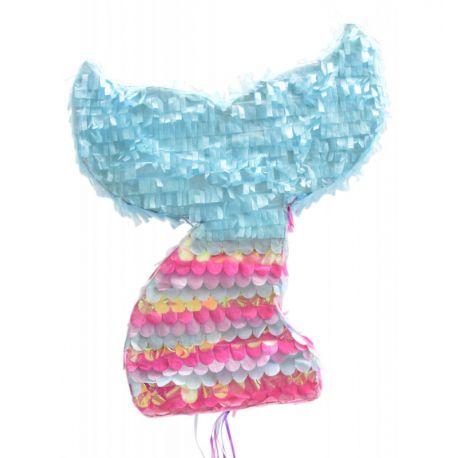 Une piñata queue de sirène multicolore traditionnelle, à remplir de confettis, petits jouets et bonbons pour animer un anniversaire ou...