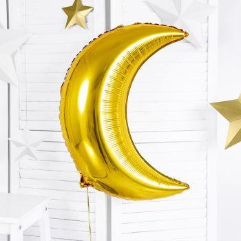 Ballon métallisé or lune 60cm
