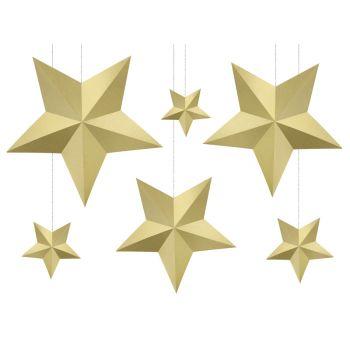 6 Guirlandes étoiles or