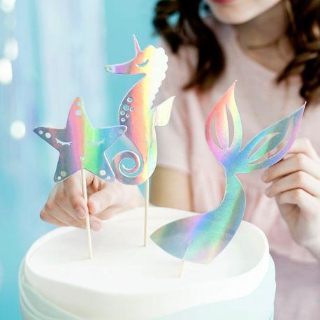 3 Pics décos sur le thème sirène pour décorer un beau gâteau d'anniversaire !Contient: une queue de sirène, une étoile de mer et un...