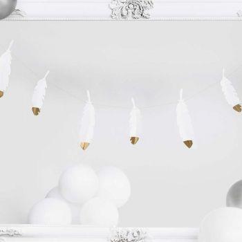 Guirlande de plumes en papier bout or