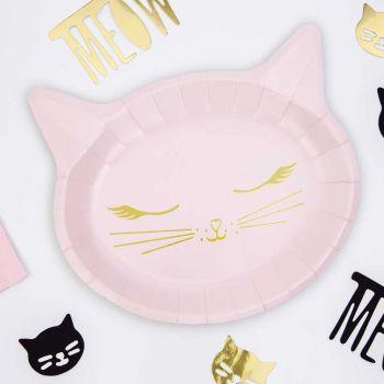 6 assiettes tête chat