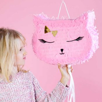 Pinata tête de chat rose