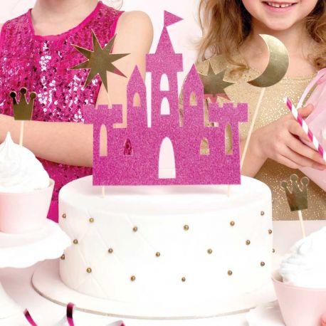 Décorez votre gâteau avec ce kit cake topperen forme de château fuchsia pailleté, lune et étoiles or métallisés pour faire une...