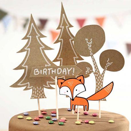 Cake toppers pour faire une belle décoration de fête d'anniversaire sur le thème de la forêtContient 5 piècesDimensions: entre 9...