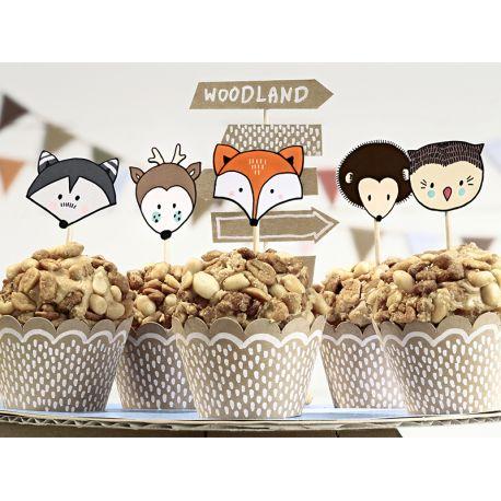 Kit pour réaliser la décoration de 6 cupcakes sur le thème de la forêt pour candy bar anniversaireContient 6 wraps à cupcakes kraft...