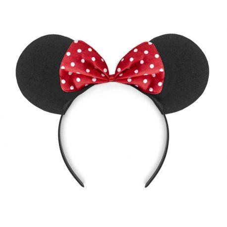 Serre tête Minnie avec noeud rouge