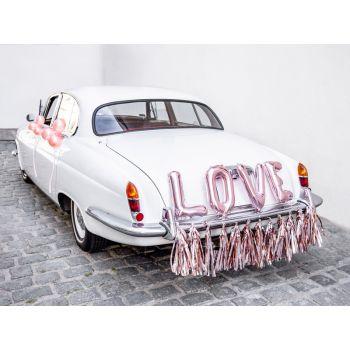 Kit décor voiture mariés Love gold rose