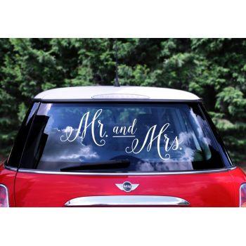 Stickers voiture mariés Mr & Mrs