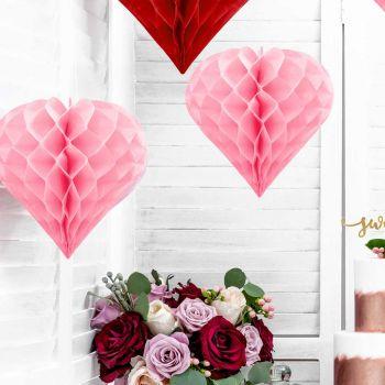 Suspension coeur rose nid d'abeille 30cm