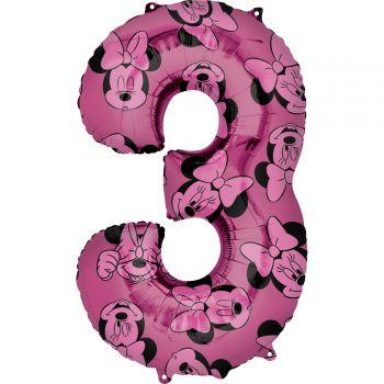 Ballon helium chiffre 3 Minnie