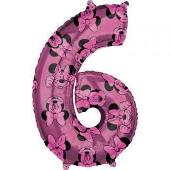 Ballon helium chiffre 6 Minnie