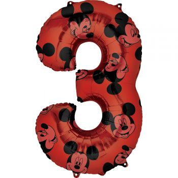Ballon helium chiffre 3 Mickey
