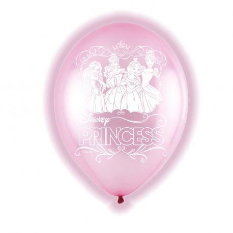 5 ballons en latex lumineux à LED à l'effigie des Princesses Disney pour une super déco d'anniversaireDimensions : Ø28cm