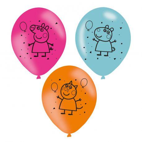 6 Ballons en latex à l'effigie de Peppa Pig pour une belle décoration d'anniversaireDimensions : Ø23cm