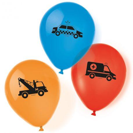 6 Ballons en latex à l'effigie de véhicules pour une belle décoration d'anniversaireDimensions : Ø23cm
