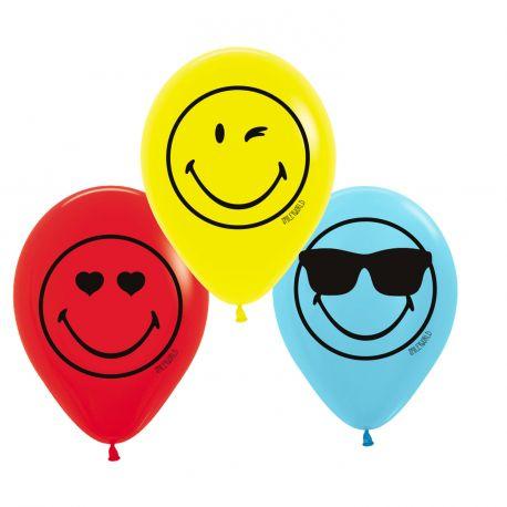 6 Ballons en latex à l'effigie de Smiley pour une belle décoration d'anniversaireDimensions : Ø23cm