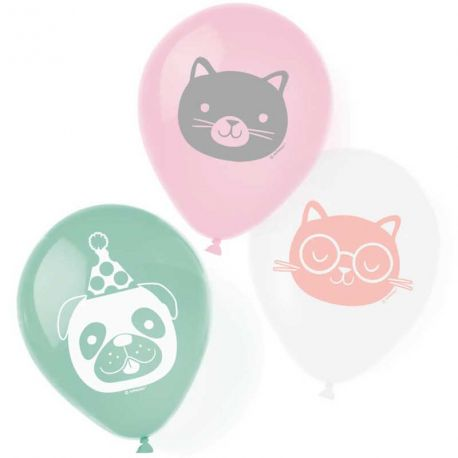6 Ballons en latex à l'effigie d'animaux de compagnie pour une belle décoration d'anniversaireDimensions : Ø23cm