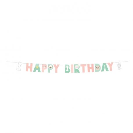 Banderole en carton Happy birthday thème Hello pets pour les fans de chats et chiens !Dimensions : 180 x 15cm