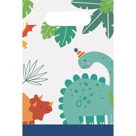 8 sacs de fête en papier pour déco anniversaire thème dinosaureA remplir de bonbons et jouets pour offrir aux invitésDimensions...