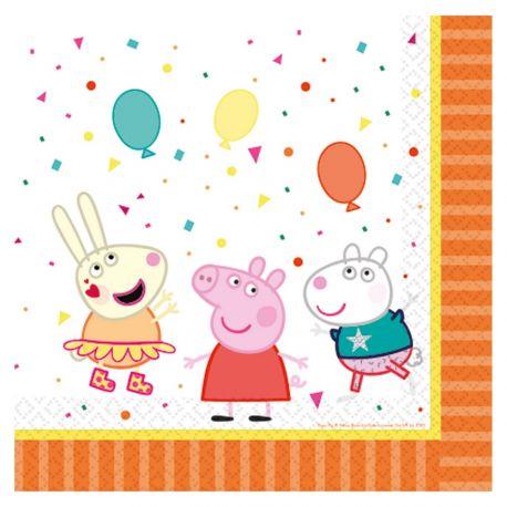 16 serviettes en papier pour décoration de table d'anniversaire thème Peppa PigDimensions : 33cm x 33cm