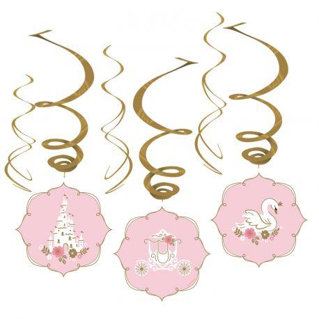 assortiment de 6 guirlandes tourbillonnantes pour une belle décoration d'anniversaire de princesse d'un jourDimensions : 45 et 80 cm