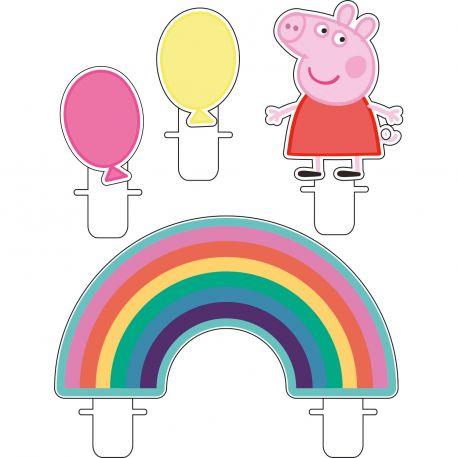 Assortiment 4 bougies pics Peppa pig pour décorer un gâteau d'anniversaire