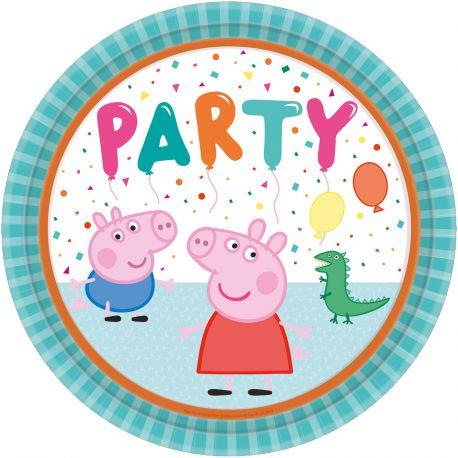 8 assiettes en carton pour décoration de table d'anniversaire sur le thème Peppa pigDimensions : Ø23cm