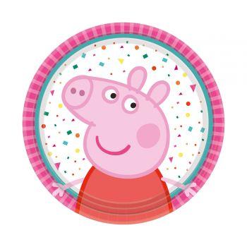 8 petites assiettes en carton Peppa pig