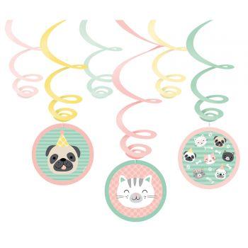 6 Guirlandes swirl Hello pets
