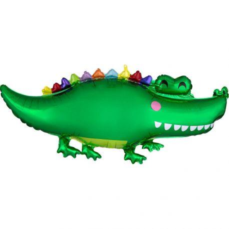 Superbe ballon en aluminium en forme de crocodile pour une belle décoration d'anniversaireDimensions : 106 x 48cm