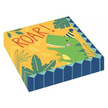 16 serviettes en papier Dino festif