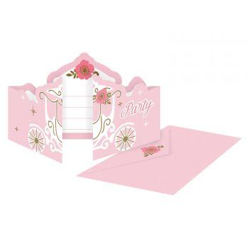 8 invitations carton Princesse du jour