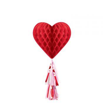 Décor coeur rouge avec pompon