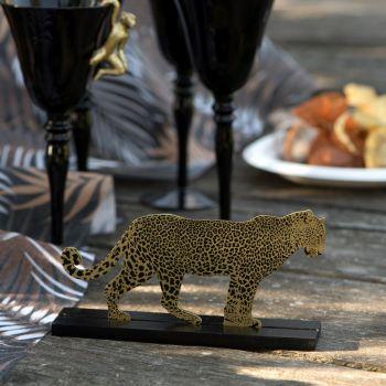 Figurine léopard en bois 18cm
