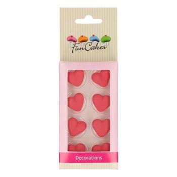 8 décors en sucre coeur rouge Funcakes