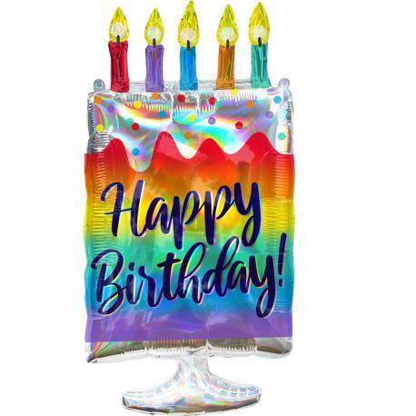 Superbe ballon hélium géant en forme de gâteau d'anniversaire avec bougie pour une super décoration d'anniversaireA gonfler avec...