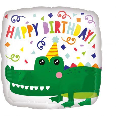 Superbe ballon helium carré à l'effigie d'un crocodile qui fait la fête pour une super déco d'anniversaireA gonfler avec hélium pour...