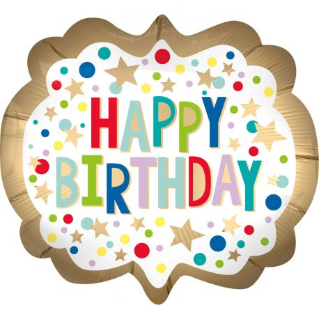 Superbe ballon helium Happy Birthday doré et multicolore pour une super déco d'anniversaireA gonfler avec hélium pour qu'il flotte...