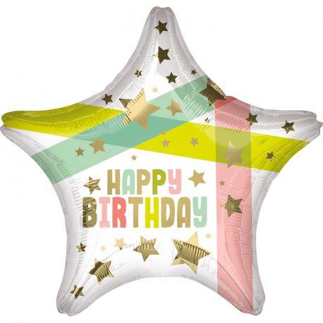 Superbe ballon helium Happy Birthday doré et multicolore en forme d'étoile pour une super déco d'anniversaireA gonfler avec hélium...