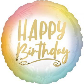 Ballon hélium pastel happy birthday gold 43cm