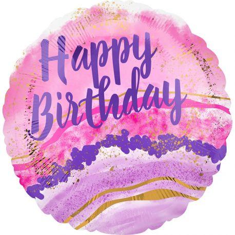 Superbe ballon helium Happy Birthday watercolor rose pour une super déco d'anniversaireA gonfler avec hélium pour qu'il flotte ou...