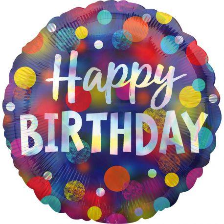 Superbe ballon helium Happy Birthday dots color irisé pour une super déco d'anniversaireA gonfler avec hélium pour qu'il flotte ou...