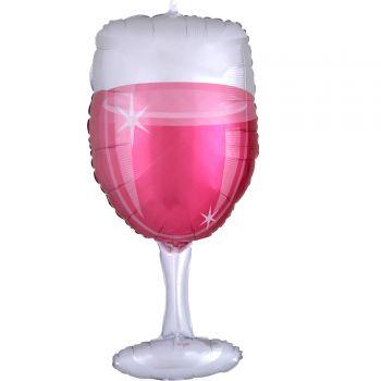 Ballon hélium verre de vin rosé 78cm