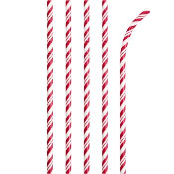 24 Pailles papier pliables rayures rouge