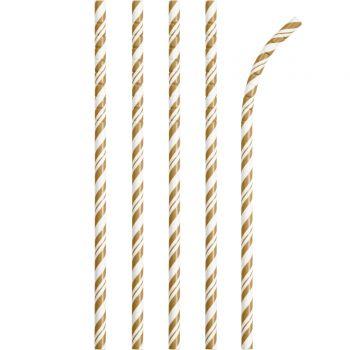 24 Pailles papier pliables rayures gold