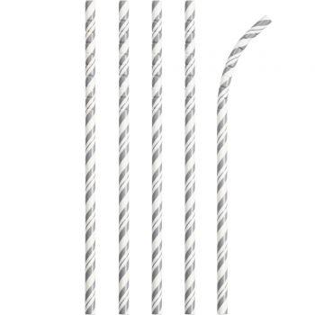24 Pailles papier pliables rayures gris
